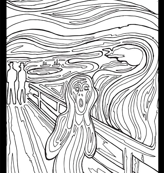The scream coloring pages